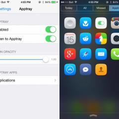 Lancia le app dal centro notifiche con Apptray