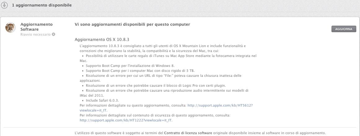 Apple rilascia al pubblico l 39 aggiornamento 10 8 3 per osx - Dekton problemas ...