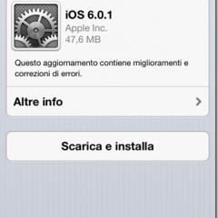 Aggiornamento per iOS con la versione 6.01