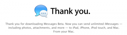 imessage beta 410x113 Mac OS X 10.8 Mountain Lion: Mac incontra iPad News Mountain Lion featured Apple