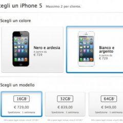 Apple Store: iPhone 5 ora spedito in una settimana